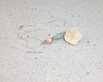 Water Flower Pendant – Ceramic Flower and beads, Faceted Glass beads, Sterling Silver