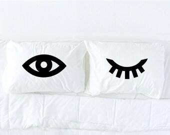 Winking Eyes pillowcase set in Black, eyelash pillow, novelty pillow, black and white bedding, dorm decor, kids bedding, Pillow Talk
