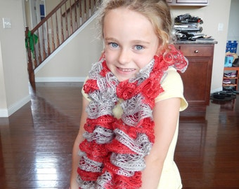 Red and Gray Frill Scarf