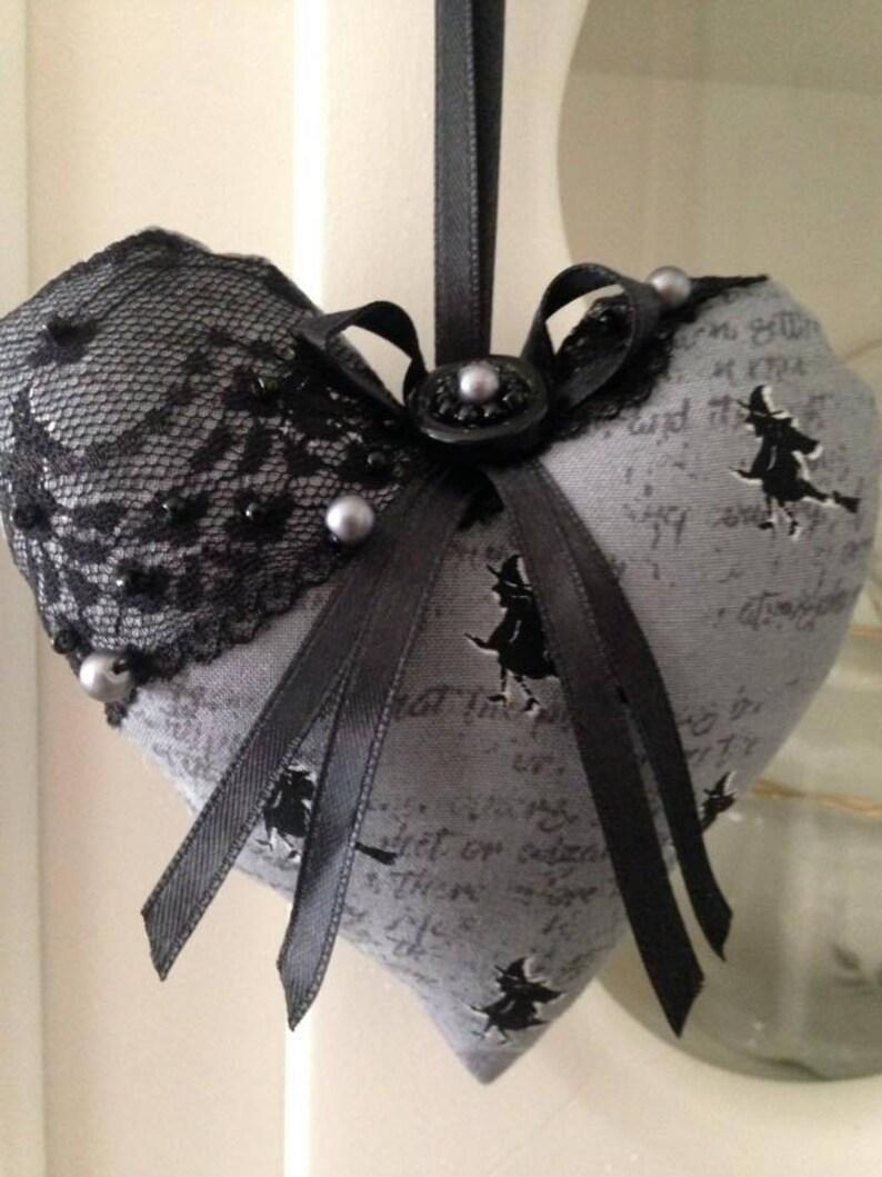 Hanger Halloween Decor Country Chic Fabric Hanging Heart Grey and Black Handmade Halloween Home Decor,
