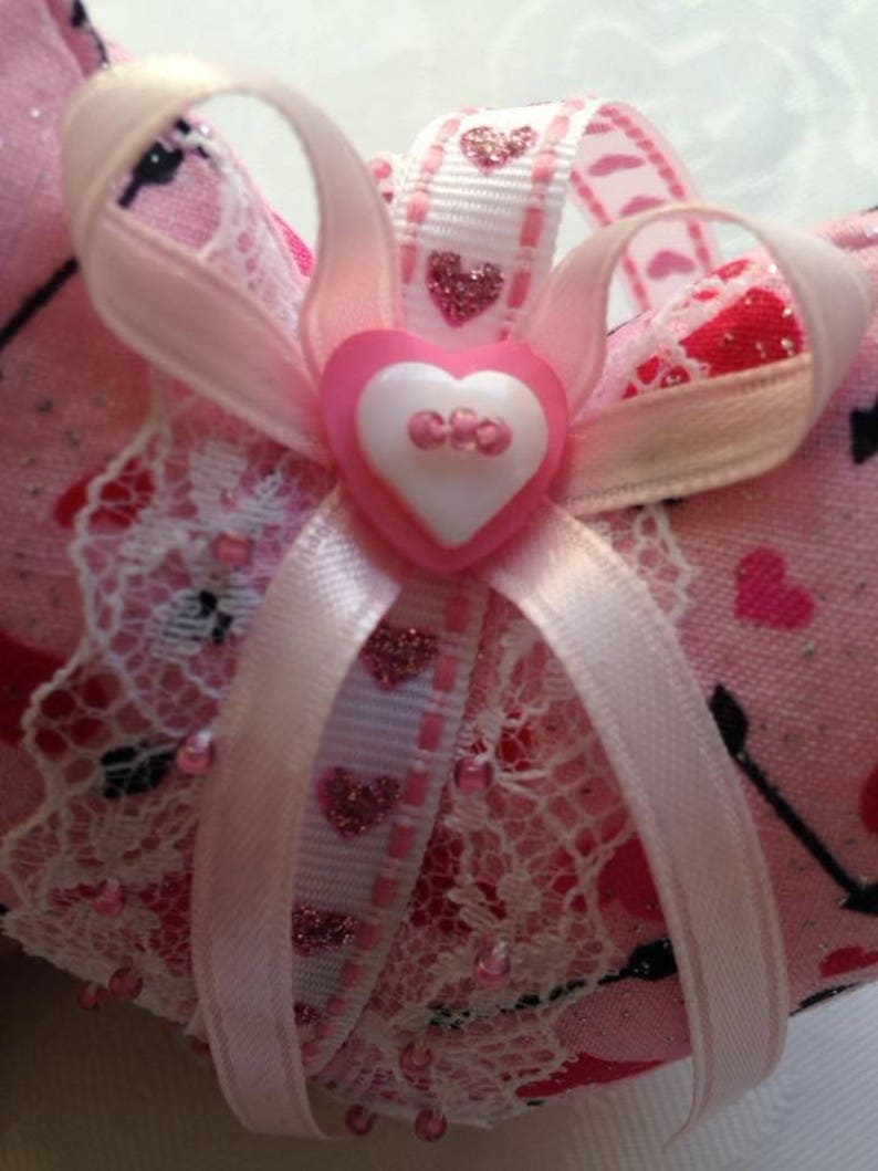 Fabric Hanging Heart Door Hanger Gift Birthday Handmade Mothers Day Country Chic Red Valentines Day Home Decor Pink and White