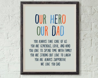Our Hero Print For Dad Birthday Card Fathers Day Printable From Kids Gift Digital