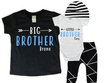 Personalized Big Brother/ Little Brother Shirt / Onesie and Pants Set. Baby Shower Gift. Little Man Outfit. Matching Brother Set