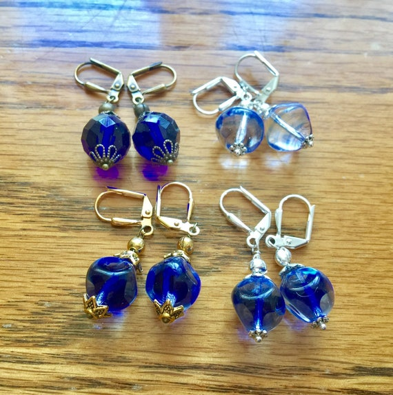 Vintage German Art Glass Czech glass earrings cobalt blue beads pierced lever back dangle silver antique brass findings up-cycled vintage
