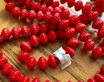 Vintage Japanese glass beads RED fluted saucer shape lantern 10mm made in occupied Japan Chunky heavy on original shank price for 15 pieces