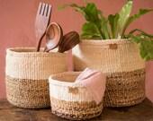NDIZI | Banana Fibre and Sisal Basket. Round Handwoven Banana and Sisal Basket.