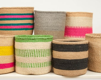 "L Woven Storage Baskets | Floor Plant Pot Cover | Toy Storage Basket - 12-13"""