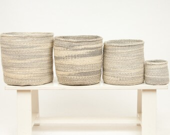 KUTELEZA: Grey Cloud Woven Storage Basket