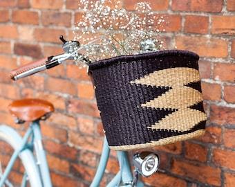 Ayme: Handcrafted Black Oblong Bike Basket