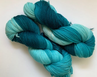 Superwash Merino/Cashmere Yarn - Turquoise Blue - Fingering Weight - Hand dyed