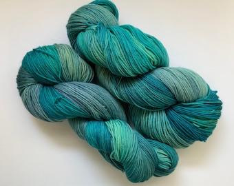 Superwash Merino/Cashmere Yarn - Blue and Green - Fingering Weight - Hand dyed