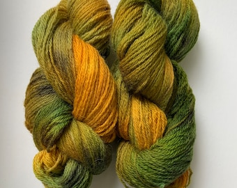 """Green and Gold Wool Yarn - Worsted Weight - """"Summertime"""""""