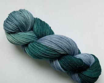 Superwash Merino Yarn - Teal Blue - Fingering Weight - Hand dyed