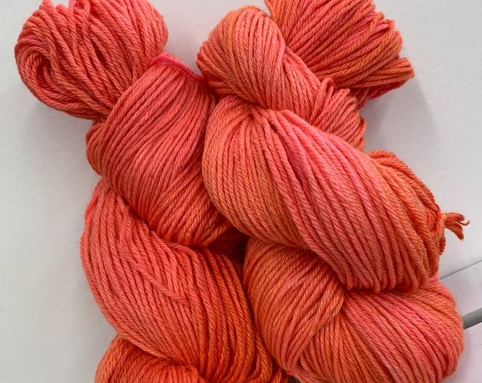 Orange and Pink Merino/Silk Yarn - DK Weight - Hand dyed