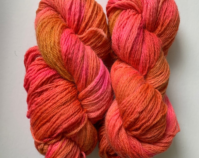 Pink and Orange Wool Yarn - Worsted Weight 3 ply - Hand dyed
