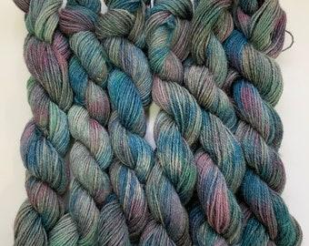 "Alpaca Sock Yarn - Hand Dyed Blue, Gray, Pink & Green Variegated - ""Dark side Johnnie"""