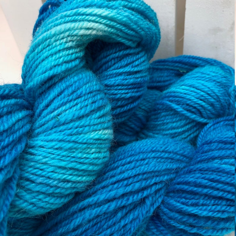 Icelandic Wool Yarn Hand dyed Blue Worsted Weight 3 ply ABBA Lagoon