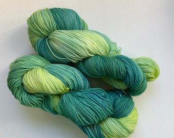 Superwash Merino Sock Yarn - Teal Blue and Green - Hand Dyed