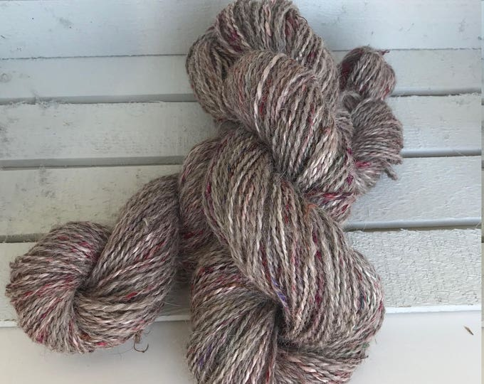 "Llama and Silk Hand Spun Yarn - DK Weight - ""Silk Pajama Llama - Chewy"""