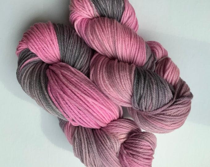 Merino Yarn - Superwash - Pink & Gray - Worsted Weight - Hand dyed