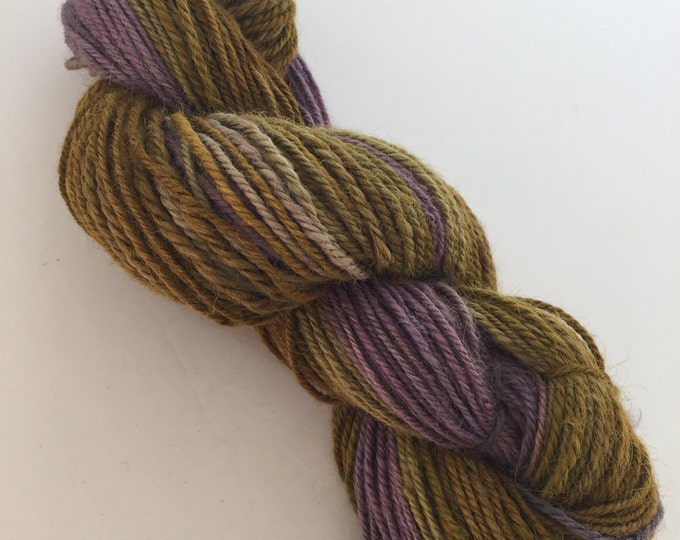 Handspun Alpaca Yarn - Gold and Puple Gradient - Sport Weight