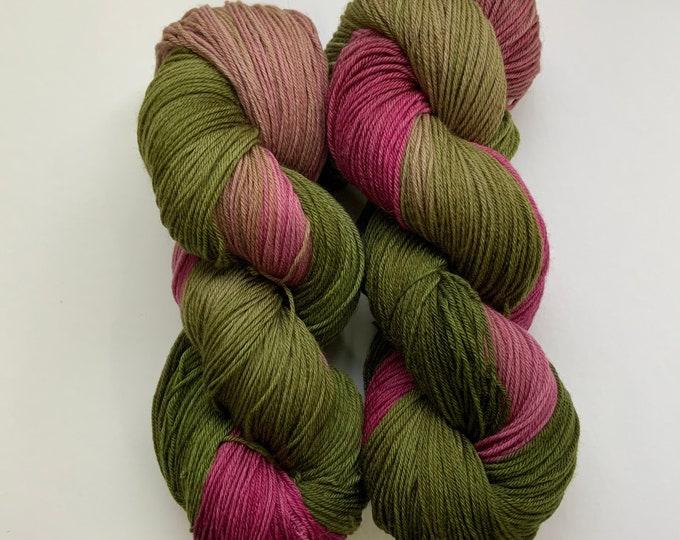 Superwash Merino Wool Yarn - Green and Red - Fingering Weight - Hand dyed
