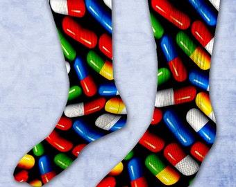 Pills Elite Socks - Pills Pattern - Pill Addict Present - Seamless Pill Pattern Socks