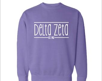 Delta Zeta  DZ  Sorority Comfrt Color Sweatshirt Choose Your Color Coneria
