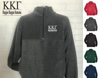 Kappa Kappa Gamma // Kappa // Sorority Embroidered Fleece Quarter Zip Jacket // Pullover