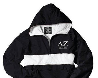 694afcd16160 Delta Zeta    DZ    Sorority Charles River Rain Jacket ( stripe)    Choose  your color