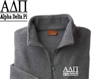a158f52c2a Alpha Delta Pi    A D Pi    Sorority Embroidered Fleece Quarter Zip Jacket     Pullover