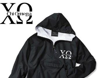 Chi Omega // Chi O // Sorority Charles River Rain Jacket (split)  // Choose Embroidery Color // Recruitment // Birthday // Christmas