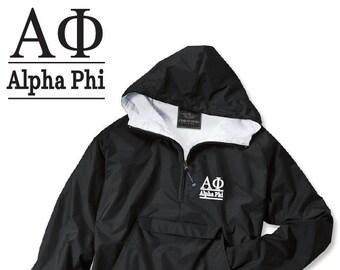 Alpha Phi // A Phi // Sorority Charles River Rain Jacket // Choose Embroidery Color // Recruitment // Birthday // Christmas