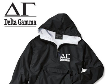 Delta Gamma  // DG // Sorority Charles River Rain Jacket // Choose your color of Embroidery // Recruitment // Birthday // Christmas