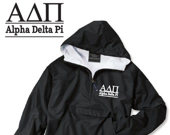 Alpha Delta Pi // A D Pi // Sorority Charles River Rain Jacket // Choose your color of Embroidery // Recruitment // Birthday // Christmas