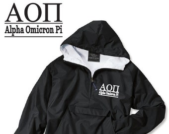Alpha Omicron Pi // A O Pi // Sorority Charles River Rain Jacket // Choose Embroidery Color // Recruitment // Birthday // Christmas