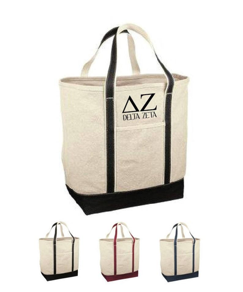 Delta Zeta  DZ  Sorority Canvas Tote bag Red House Bid Day Gift  Big Little Gift  Greek /& Sorority Gifts