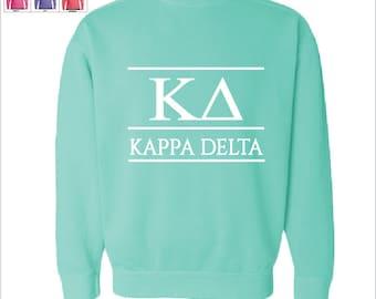 KD Kappa Delta Script Choose Your Colors Sorority Sweatshirt JS9OB
