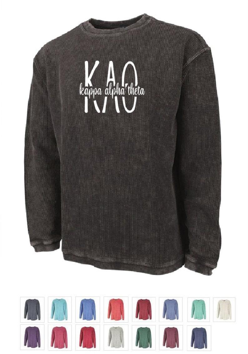 Choose Your Color Kappa Alpha Theta  Theta  Sorority Washed Corded Crewneck CC03