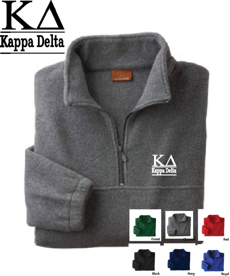 44fa2943 Kappa Delta // KD // Sorority Embroidered Fleece Quarter Zip Jacket //  Pullover