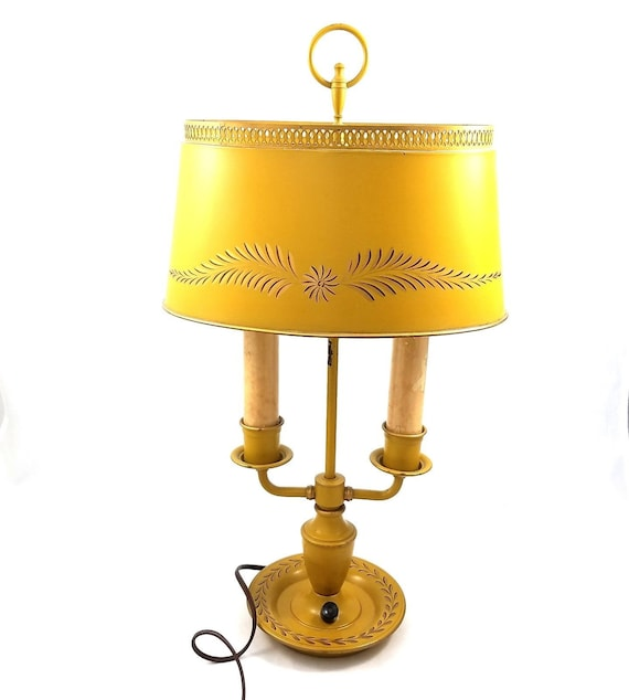 Vtg Metal Tin Table Parlor Lamp Double Arm Lights Electric Etsy
