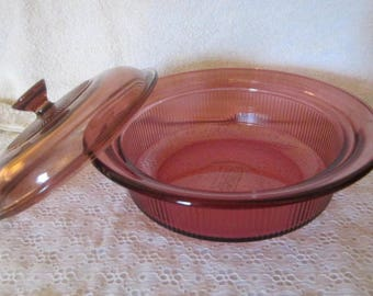 Corning Ware VISION Cranberry 1 Quart Casserole Dish With Lid V-31-B Ribbed Side