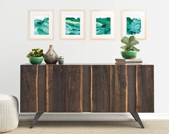 Gallery Wall: Quadtych of Undercurrent Emerald Inks, Oceanscape, Ocean Art, large art, Set of FOUR prints