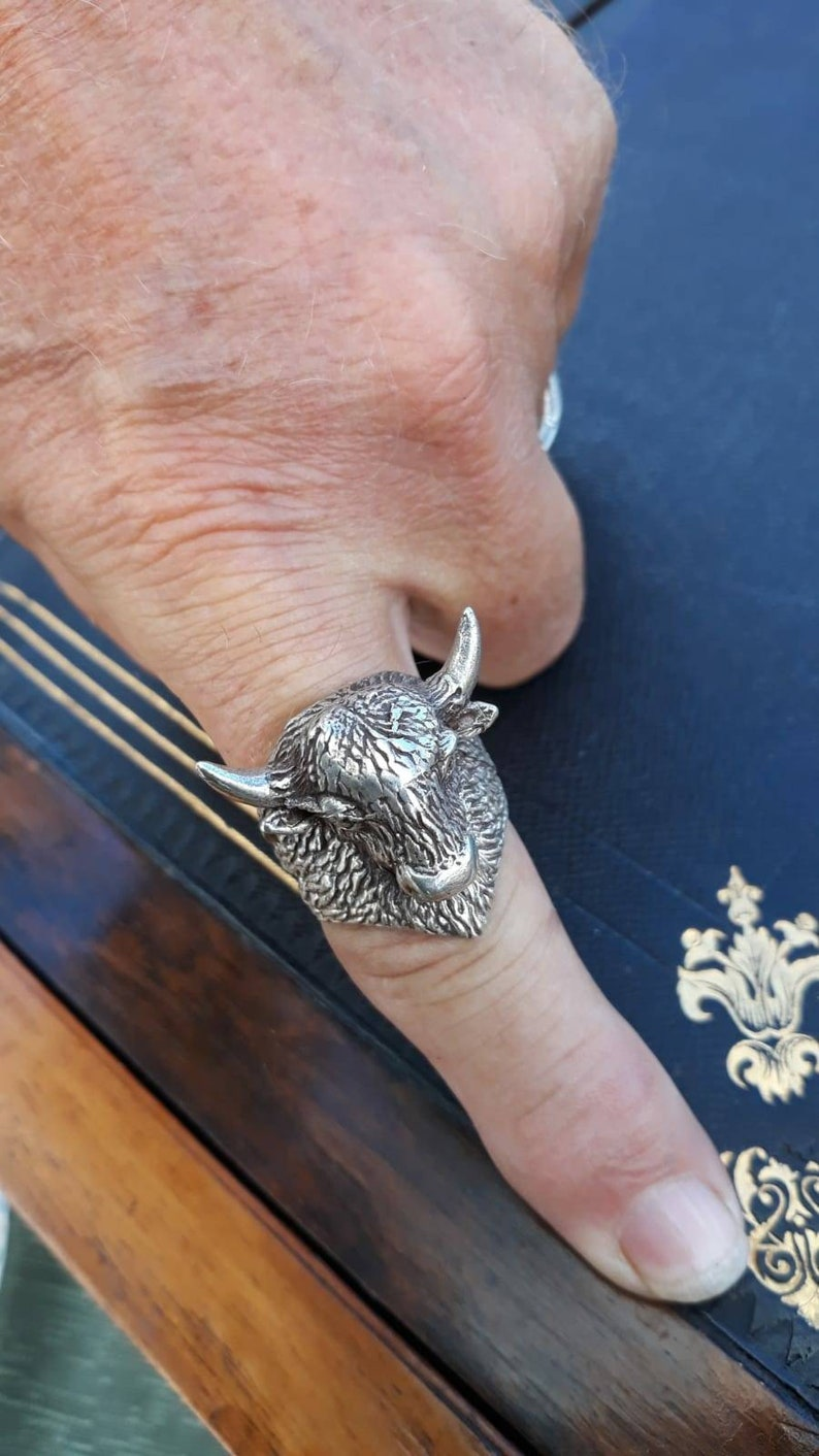 Large Buffalo Silver Ring,Buffalo Vintage Silver Ring Silver Handmade Ring Toro Solid Silver Ring,Handmade Silver