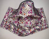 Liberty London Cotton Tana Lawn Japan Kitty Purple Ditsy Floral - 3 PlyFace Mask with Filter Pocket - Adjustable Elastic for Head or Ears.