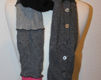 Upcycled Extra Long 100% Cashmere Extra Long Scarf Made from Repurposed Sweaters - Shades of Grey and Black with a hint of Pink