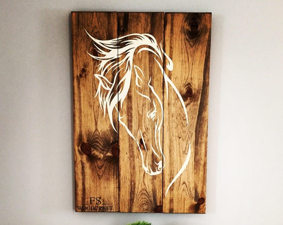 """horse wood sign 32""""x 22"""" horse panting western horse riding home decor bedroom living room cowboy wood art cowgirl country music horse art"""