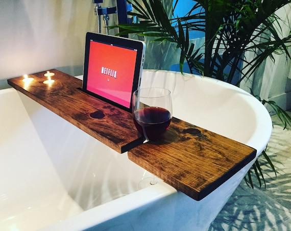 bath tray bathroom decor bath caddy wine glass rack ipad iphone boho candles champagne glass gift idea christmas valentine day