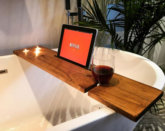 bath tray bathroom decor boho bath caddy wine glass rack ipad iphone candles champagne glass gift idea christmas valentine day