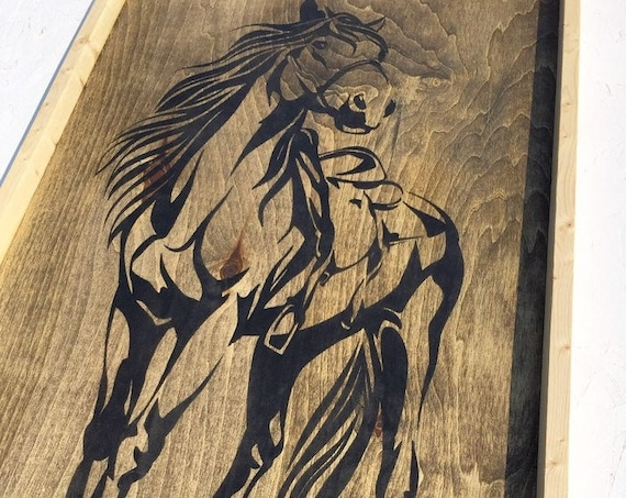 """horse 33""""x21""""x2""""wood sign wall art horse panting western horse riding home decor bedroom living room cowboy wood art cowgirl country kids"""
